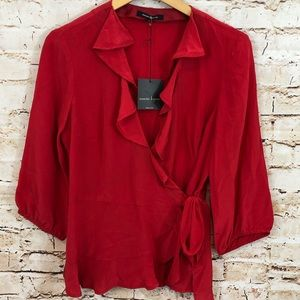 Nanette Lepore wrap ruffle top red hold me blouse